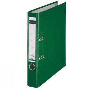 Biblioraft LEITZ 180, A4, plastifiat PP, margine metalica 52 mm - verde