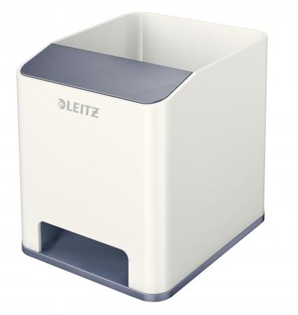Suport instrumente de scris, LEITZ Wow cu amplificare sunet - gri/alb
