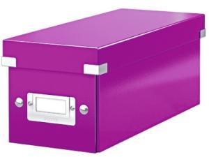 Cutie pentru 30/60 CD-uri, LEITZ Click & Store, carton laminat - mov