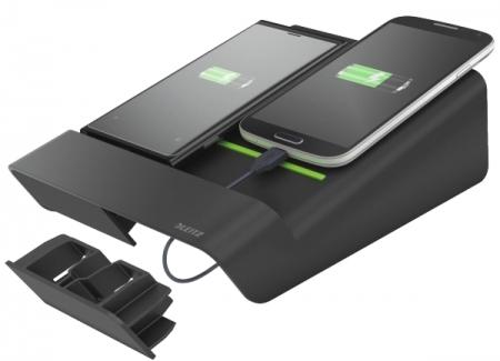Duo-incarcator LEITZ Complete de birou, pentru 2 smartphone-uri sau o tableta PC - negru