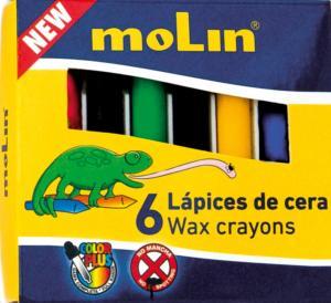 Creioane colorate cerate,  6 culori/set, MOLIN Color Plus