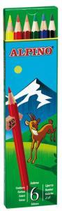 Creioane colorate, cutie carton,  6 culori/set, ALPINO0