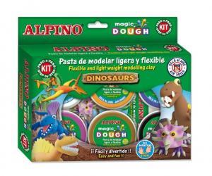 Kit 6 culori x 40gr plastilina magica + 4 seturi accesorii, ALPINO Dinosaurs1