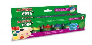 Vopsea acrilica, rezistenta la apa, 6 culori/set + pensula gratuita, ALPINO Crea+