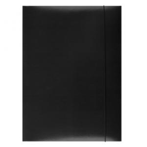 Mapa din carton plastifiat cu elastic, 300gsm, Office Products - negru