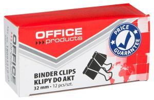 Clips hartie 32mm, 12buc/cutie, Office Products - negru