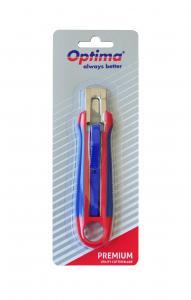 Cutter premium Optima, lama trapezoidala SK5, auto-retractabil, sina metalica, ABS cu rubber grip