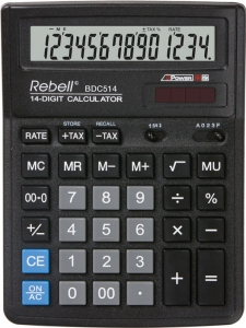 Calculator de birou, 14 digits, 193 x 143 x 38 mm, Rebell BDC 514 - negru