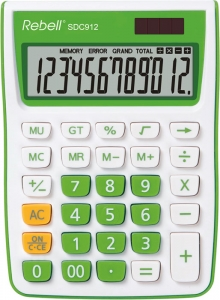 Calculator de birou, 12 digits, 145 x 104 x 26 mm, Rebell SDC 912 - alb/verde