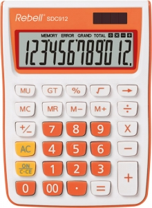 Calculator de birou, 12 digits, 145 x 104 x 26 mm, Rebell SDC 912 - alb/orange