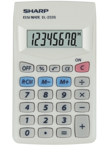 Calculator de buzunar, 8 digits, 103 x 60 x 8 mm, SHARP EL-233S - alb