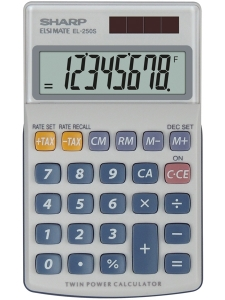 Calculator de buzunar, 8 digits, 116 x 71 x 17 mm, dual power, capac plastic, SHARP EL-250S - gri