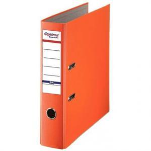 Biblioraft A4, plastifiat PP/paper, margine metalica, 75 mm, Optima Basic - portocaliu