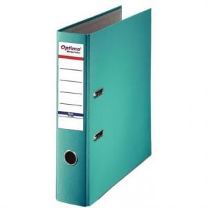 Biblioraft A4, plastifiat PP/paper, margine metalica, 75 mm, Optima Basic - turqoise