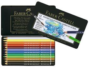 Creioane Colorate Acuarela A.Durer Faber-Castell, 12 culori, cutie metalica