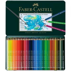 Creioane Colorate Acuarela A.Durer Faber-Castell, 36 culori, cutie metalica