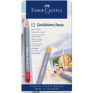 Creioane colorate Aqua, 12 culori / set, GOLDFABER  Faber-Castell - cutie metalica