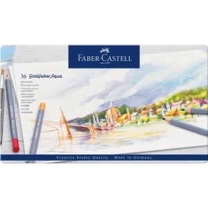 Creioane colorate Aqua, 36 culori / set, GOLDFABER  Faber-Castell - cutie metalica