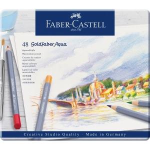 Creioane colorate Aqua, 48 culori / set, GOLDFABER  Faber-Castell - cutie metalica