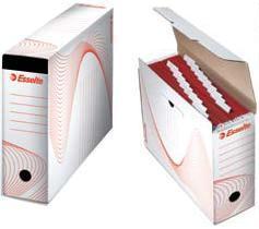 Cutie arhivare ESSELTE din carton, pentru 10 dosare suspendabile - alb