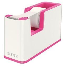 Dispenser cu banda adeziva inclusa LEITZ Wow, culori duale - roz metalizat/alb