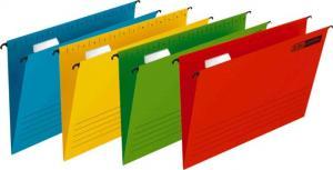 Dosar suspendabil cu eticheta, bagheta metalica, carton 230g/mp, Verticflex - rosu