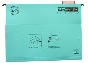 Dosar suspendabil cu eticheta, bagheta metalica, carton 330g/mp, ELBA Verticflex Ultimate - albastru