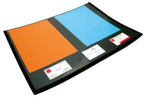 Mapa birou dublata cu folie transparenta si calendar, 50 x 63 cm, buretata, LANDS - negru