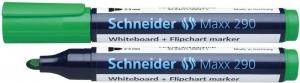 Marker SCHNEIDER Maxx 290, pentru tabla de scris+flipchart, varf rotund 2-3mm - verde