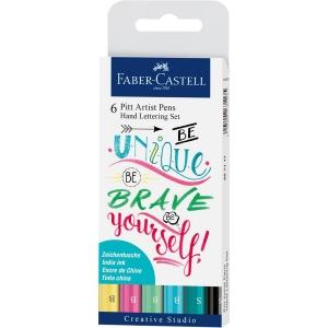 Pitt Artist Pen Set Caligrafic 6 Buc Pastel Faber-Castell