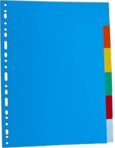 Separatoare carton color, A4, 180g/mp,  5 culori/set, Optima