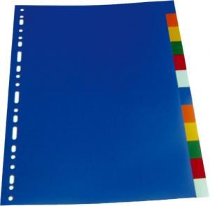 Separatoare plastic color, A4, 120 microni,  6 culori/set, Optima