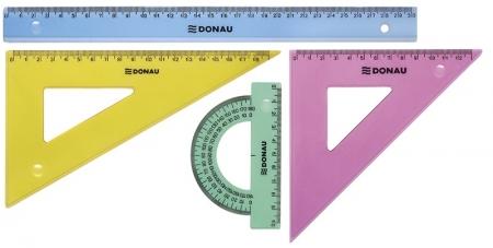 Set geometrie mare, contine: rigla 30cm, raportor, echer 13cm si echer 19cm, DONAU - culori asortate1