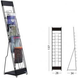 Stand metalic pentru cataloage 10 x A4, 137 x 30 x 23 cm, SMIT Classic - gri