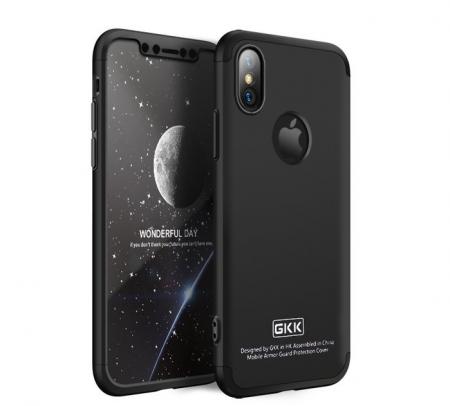 Husa iPhone X GKK 360 Logo Cut Negru + folie protectie display pentru iPhone X5