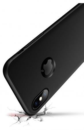 Husa iPhone X GKK 360 Logo Cut Negru + folie protectie display pentru iPhone X1