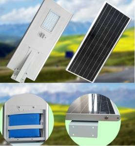 PowerSave street lighting system with 70Wp photovoltaic panel, included battery and 30W LED3