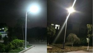 PowerSave street-side street lighting with Sunpower 86Wp photovoltaic panel, included battery and LED 60W4