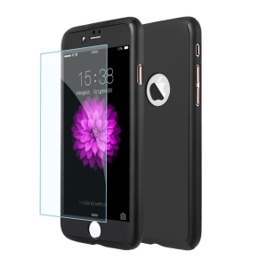 Husa iPhone 8 Plus 360 Fullcover ( Fata Spate ) Silicon Negru cu Folie Inclusa