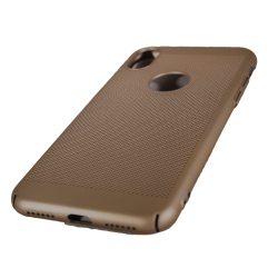 Husa iPhone X TPU Perforat Gold/Auriu