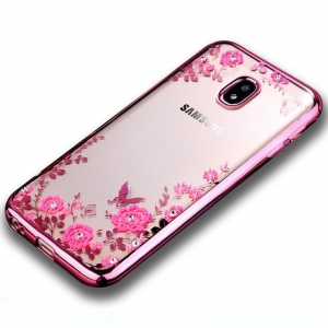 Husa J5 2017 TPU Transparent Flowers Margini Electroplacate Rose Gold
