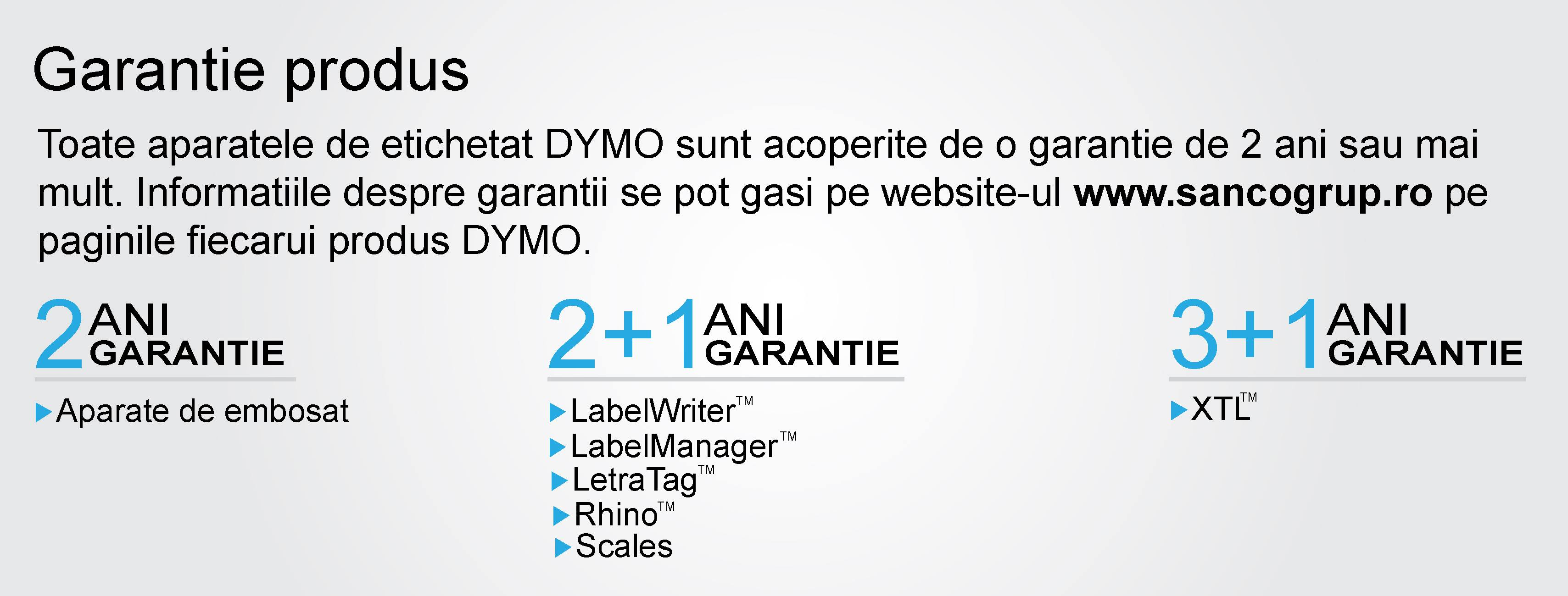 Garantia Produselor Dymo Romania la Sanco Grup