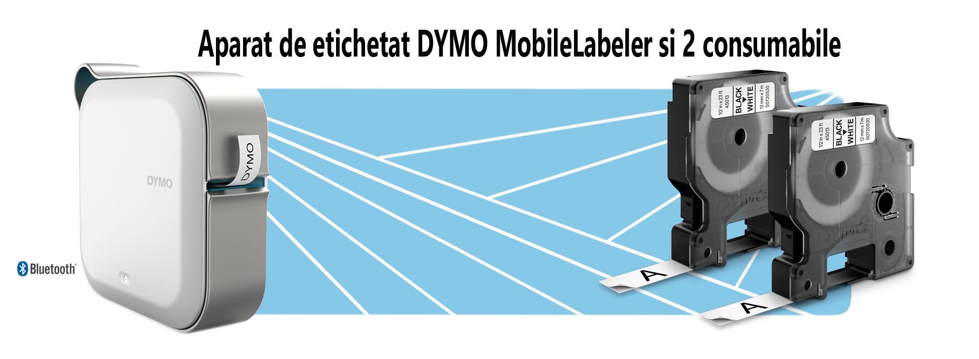 Aparat de etichetat DYMO MobileLabeler si 2 consumabile