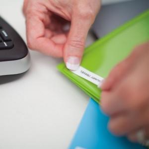 Etichete autocolante, DYMO LabelManager D1, 9mm x 7m, negru/alb, 10 buc/set, 40913, 20930961