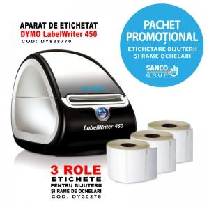 Pachet promotional: Aparat de etichetat profesional DYMO LabelWriter 450 si 3 etichete bijuterii si rame ochelari