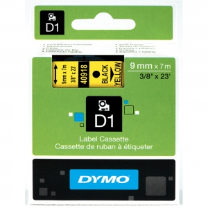 DYMO LabelManager D1 labels, 9mm x 7m, black on yellow, 40918, S07207304