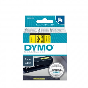 DYMO LabelManager D1 labels, 9mm x 7m, black on yellow, 40918, S07207303