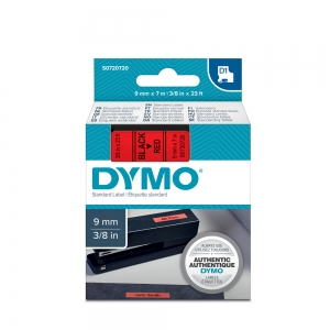 DYMO LabelManager D1 labels, 9mm x 7m, black on red, 40917, S07207203