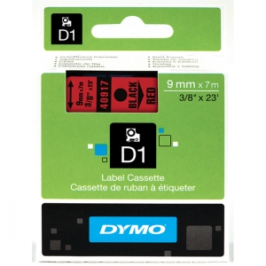 DYMO LabelManager D1 labels, 9mm x 7m, black on red, 40917, S07207204
