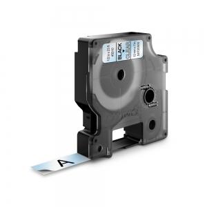 Etichete autocolante, DYMO LabelManager D1, 12mm x 7m, negru/transparent, 45010 S07205000